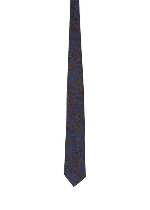 Lacivert Kahverengi Şal Desenli İpek Kravat