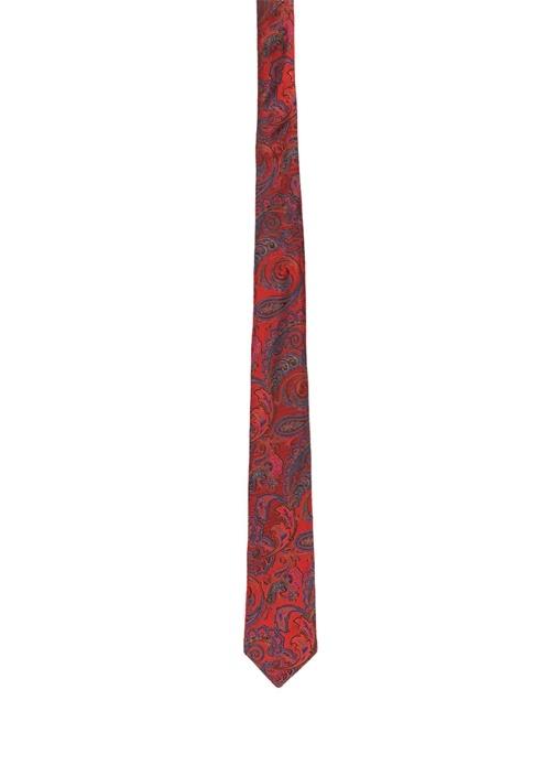 Kırmızı Etnik Desenli İpek Kravat