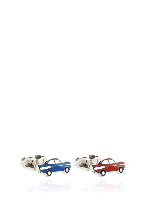 Kırmızı Mavi Araba Formlu Erkek Kol Düğmesi