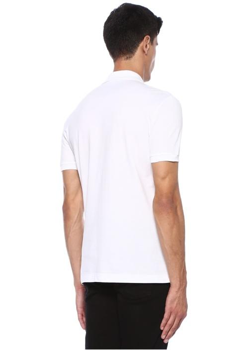 Beyaz Polo Yaka Düğme Kapatmalı Dokulu T-shirt