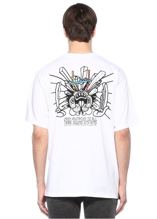 Hamerica Beyaz Bisiklet Yaka Baskılı Basic T-shirt