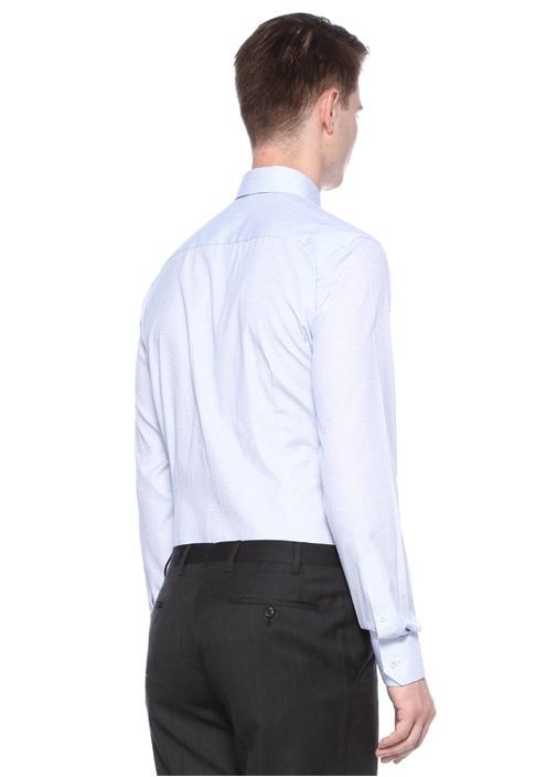 Slim Fit Mavi Klasik Yaka Mikro DesenliGömlek