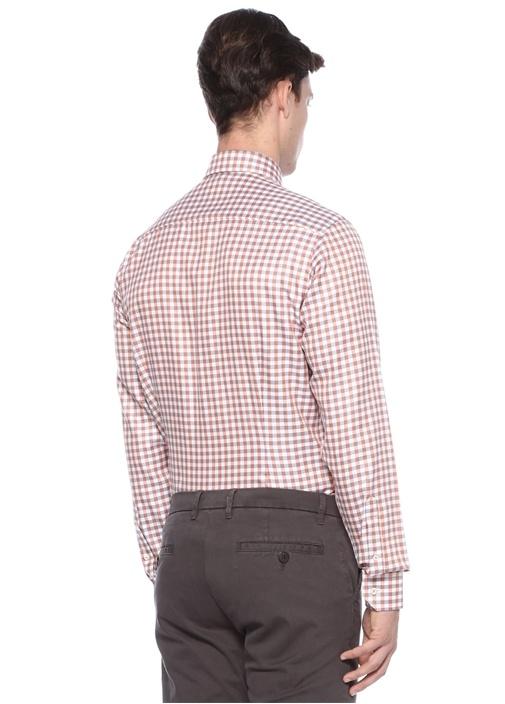 Slim Fit Turuncu Klasik Yaka Ekose Desenli Gömlek