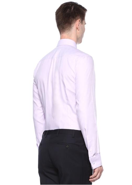 Slim Fit Lila Klasik Yaka Dokulu Gömlek