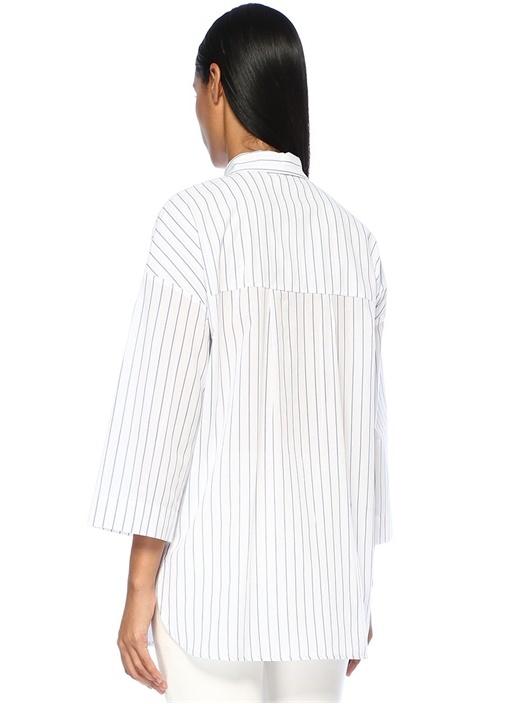 Beyaz Çizgili Kuş Nakışlı Düşük Kollu Gömlek