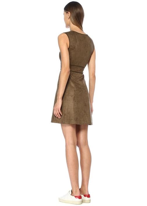 Hardy Haki Kalpli Kuşgözü Detaylı Mini Elbise