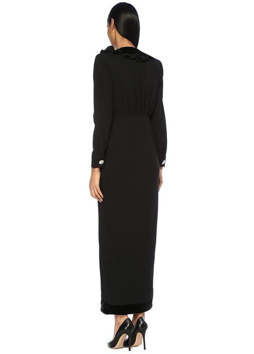 Siyah V Yaka Fiyonklu Taşlı Maksi Yün Elbise