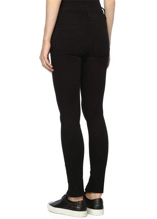 Siyah Yüksek Bel Yırtmaçlı Skinny Jean Pantolon