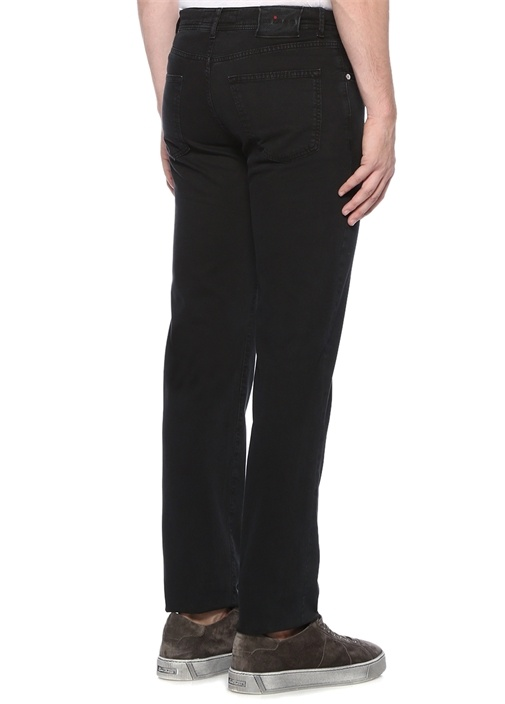 Siyah Normal Bel Düğmeli Boru Paça Pantolon