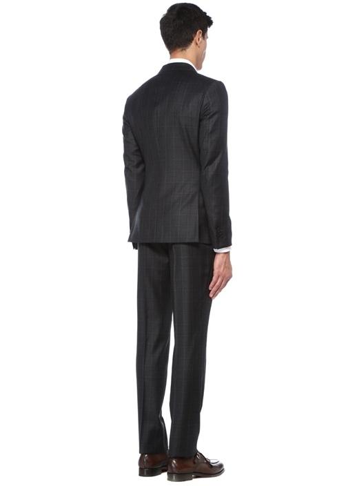 Drop 8 Antrasit Kareli Yün Takım Elbise