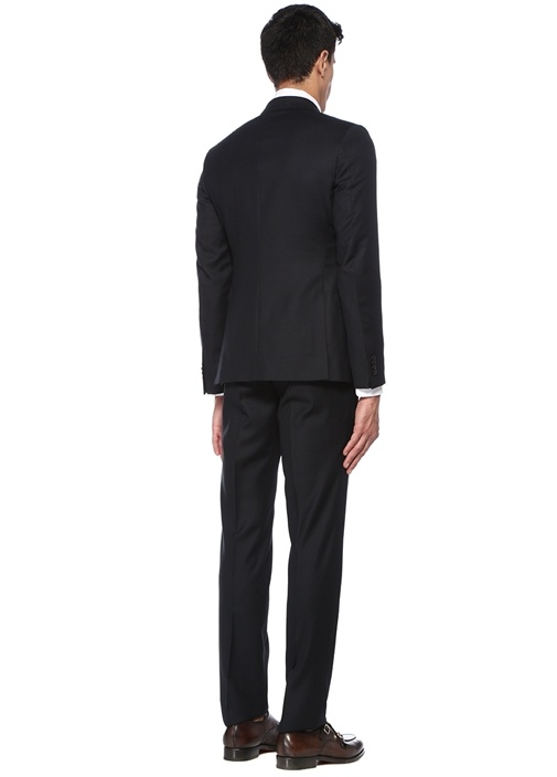 Drop 8 Siyah Çizgili Yelekli Yün Takım Elbise