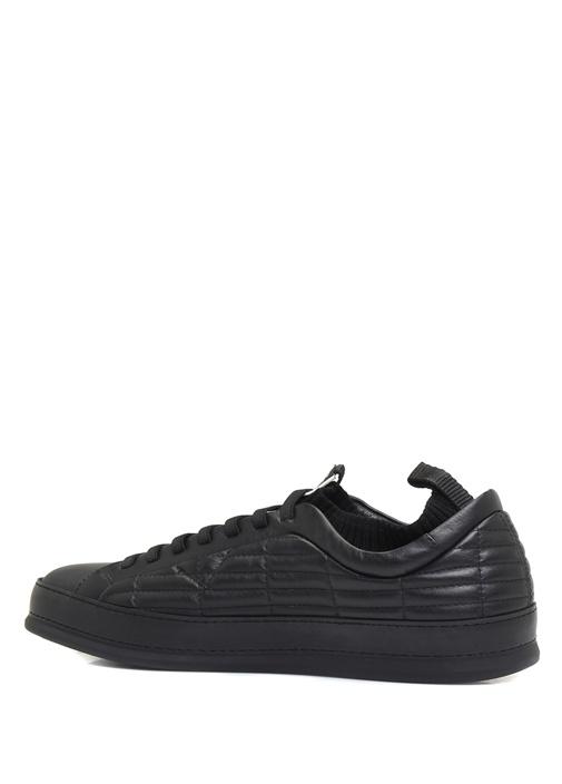 Siyah Çorap Formlu Detaylı Erkek Deri Sneaker
