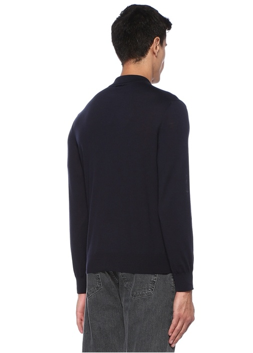 Lacivert Polo Yaka Yün T-shirt
