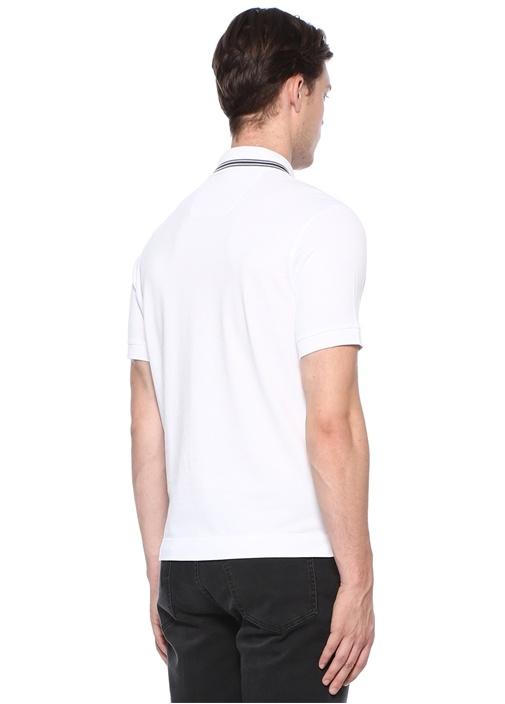 Beyaz Polo Yaka Şeritli Dokulu T-shirt