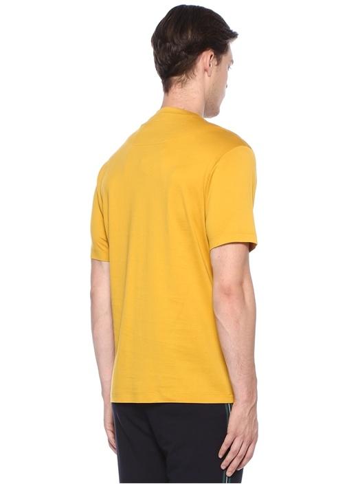 Sarı Logo Baskılı Basic T-shirt