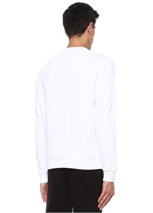 Beyaz Bisiklet Yaka Kabartmalı Logolu Sweatshirt