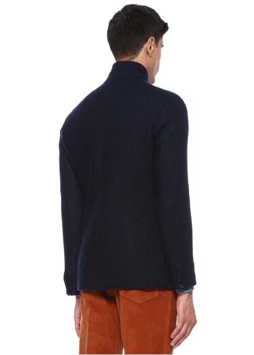 Lacivert Dik Yaka Düğmeli Ceket