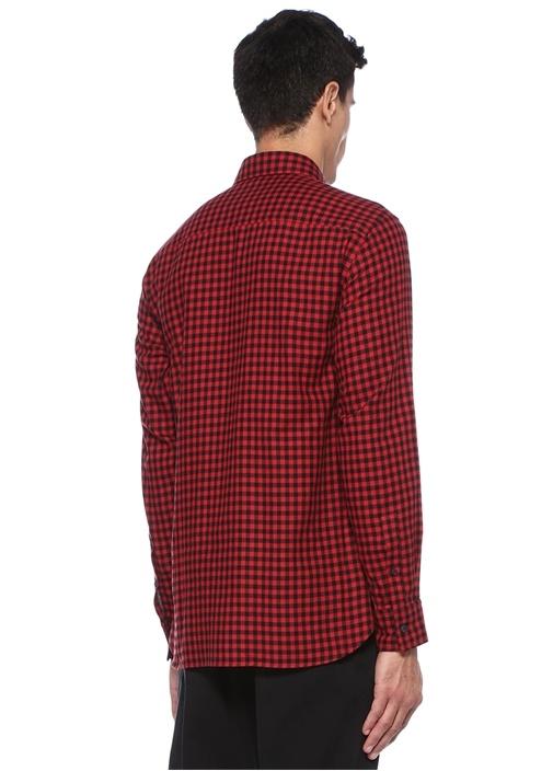 Siyah Kırmızı Kesik Yaka Kareli Gömlek