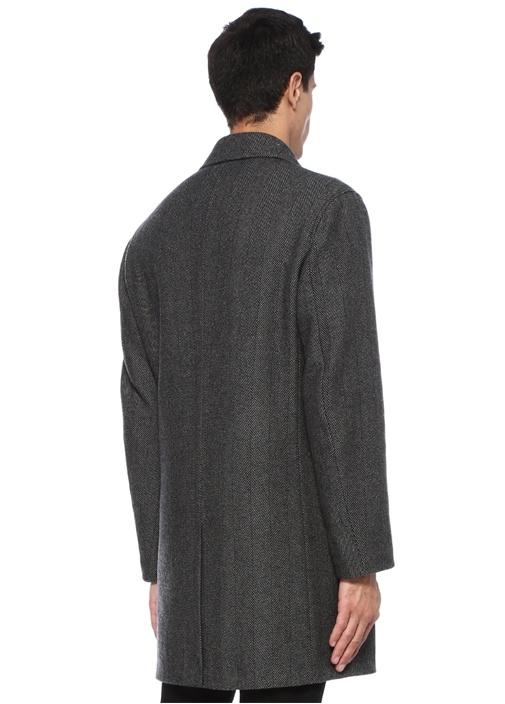 Gri Kelebek Yaka Balık Sırtı Desenli Ceket