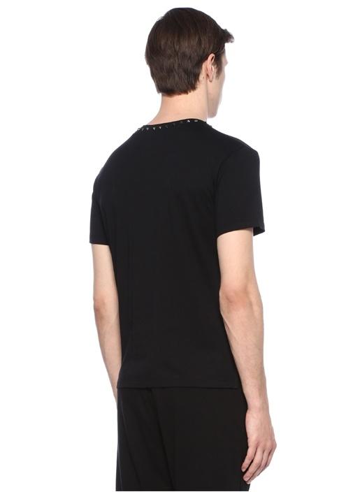 Siyah Bisiklet Yaka Troklu Basic T-shirt