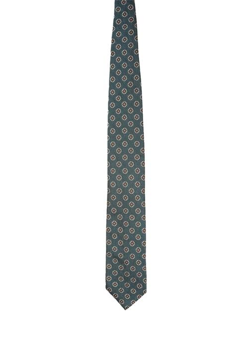 Yeşil Mikro Desenli İpek Kravat