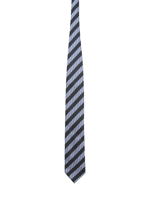 Lacivert Çizgili Mikro Desenli İpek Kravat