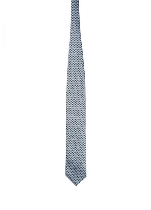 Mavi Mikro Desenli İpek Kravat