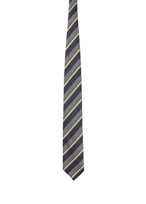 Siyah Sarı Çizgili Mikro Desenli İpek Kravat