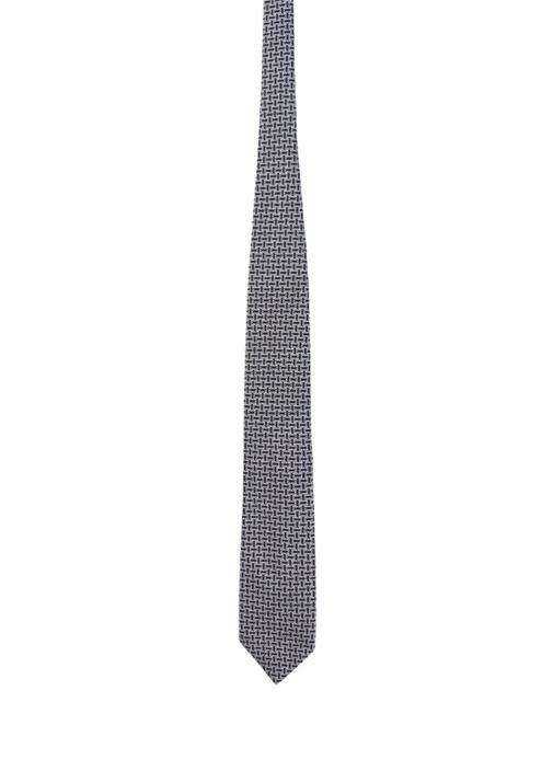 Siyah Beyaz Mikro Desenli İpek Kravat