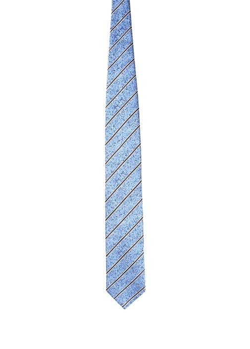 Mavi Çizgili Mikro Desenli Erkek İpek Kravat