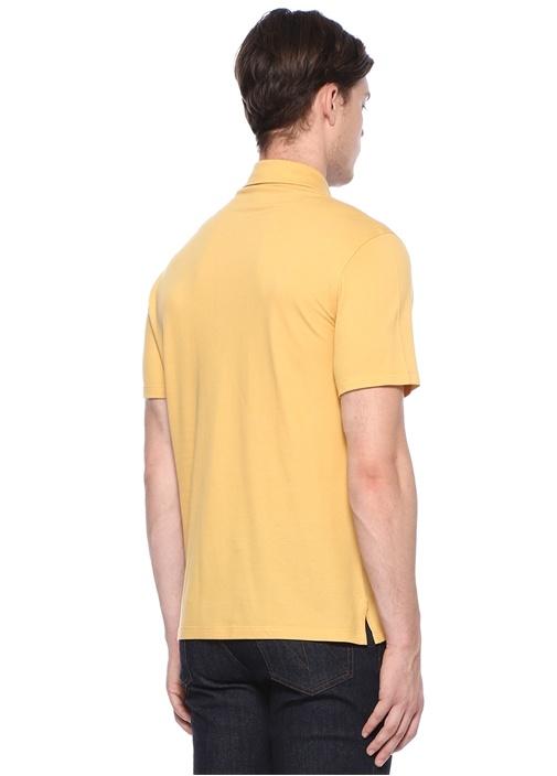 Sarı Polo Yaka Düğme Kapatmalı Dokulu T-shirt