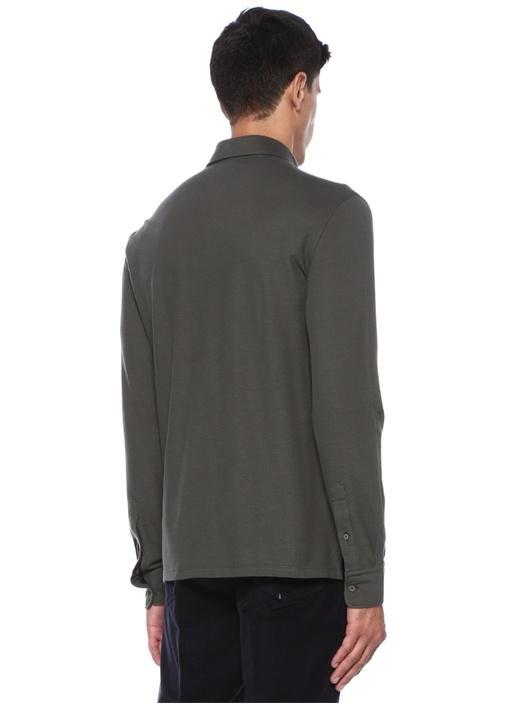 Yeşil Polo Yaka Şeritli Uzun Kollu T-shirt