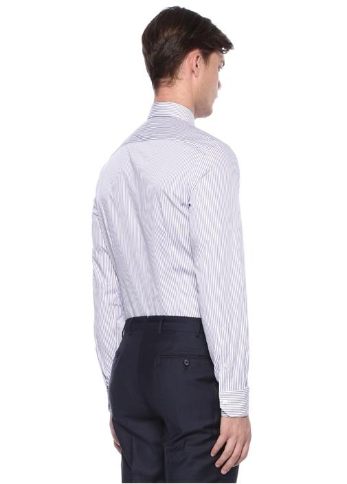 Lila Beyaz Klasik Yaka Çizgi Desenli Gömlek