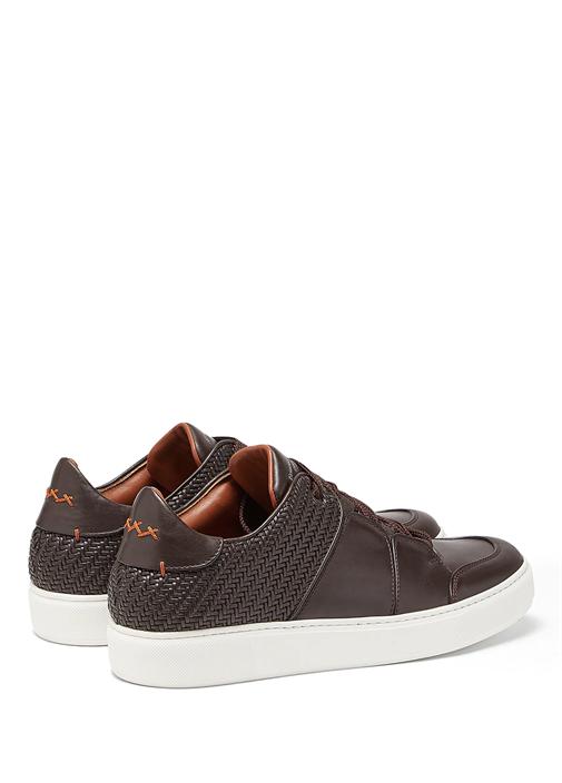 Kahverengi Çizgi Detaylı Erkek Deri Sneaker