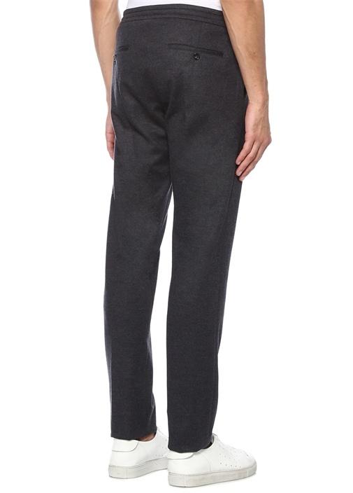 Antrasit Normal Bel Bağcıklı Yün Pantolon