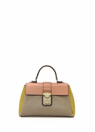 Bottega Veneta Kadın Colourblocked Örgü Dokulu Deri Çanta Sarı Ürün Resmi