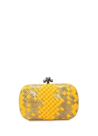 Bottega Veneta Kadın Sarı Yılan Derisi Dokulu Deri Abiye Çanta Ürün Resmi