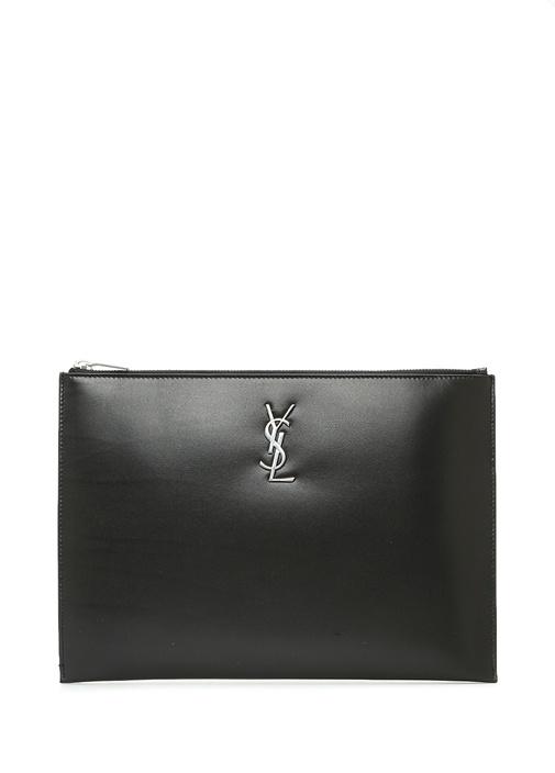 Monogram Siyah Logolu Erkek Deri El Portföyü