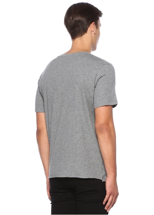 Gri Melanj Bisiklet Yaka Yıldız BaskılıT-shirt
