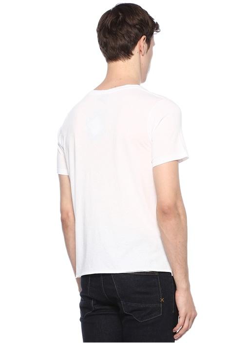 Beyaz Bisiklet Yaka Baskılı Basic T-shirt
