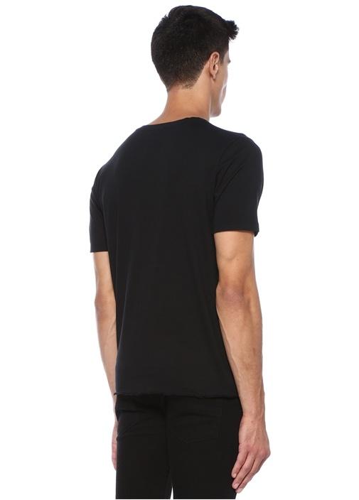 Siyah Bisiklet Yaka Yıpratmalı Cepli Basic T-shirt
