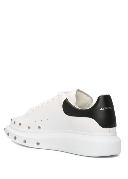 Oversized Beyaz Bağcıklı Erkek Deri Sneaker