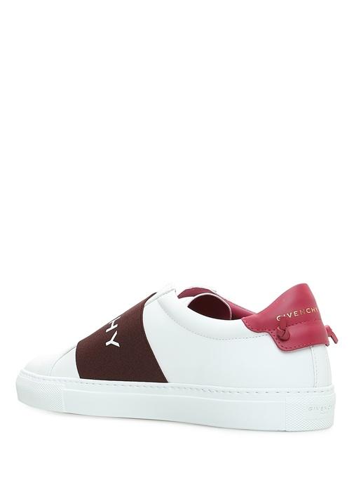 Beyaz Logolu Bant Detaylı Kadın Deri Sneaker