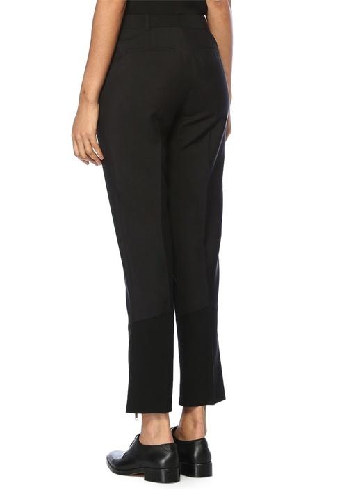 Siyah Yüksek Bel Paçası Fermuarlı Yün Pantolon