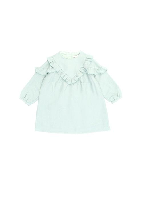 Yeşil Fırfır Detaylı Kız Çocuk Elbise