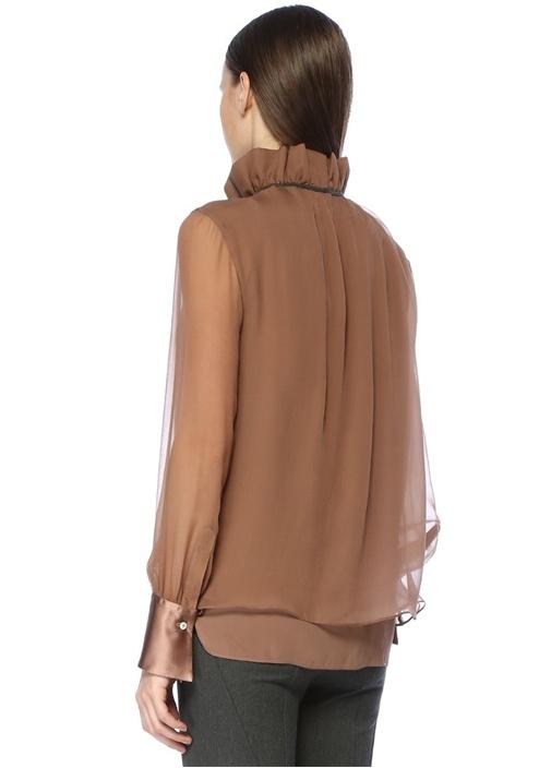 Vizon Dik Yaka Zincir Detaylı İpek Bluz