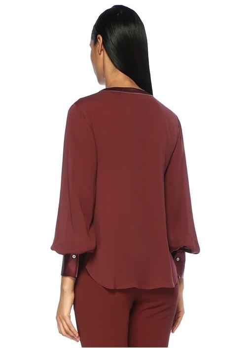 Bordo V Yaka Zincir Detaylı İpek Bluz