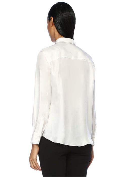 Beyaz Zincir Detaylı İpek Gömlek