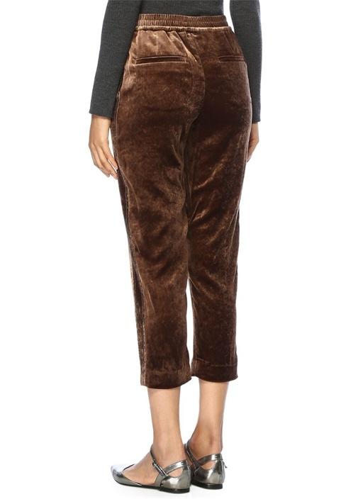 Kahverengi Yüksek Bel Zincirli Kadife Pantolon
