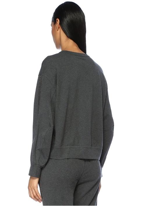 Koyu Gri Düşük Kollu Zincir Detaylı Sweatshirt